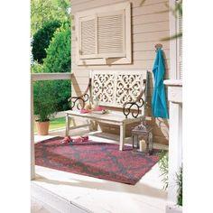 Gartenbank Ornament (2-Sitzer) - Holz - Weiß Lounge