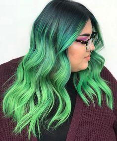 Green balayage mermaid hair color