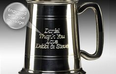 Our super sleek satin and polished pewter tankard is an ideal gift for Birthdays, Retirements and Father's Day! Each tankard can be personalised with a Name, Date or Message up to 100 characters and presented in a gift box. Team it up with a bottle of their favourite beer for them to enjoy as soon as they receive. A gift that will last a life time.