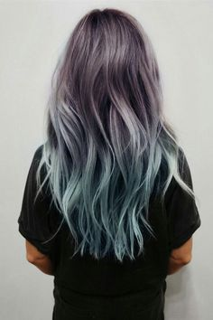 Balayage and Ombre are everyone's favorite. Add in the pastel hair colors. and you have delicate and beautiful hair mixes. Coloured Hair, Ombre Hair Color, Purple Hair, Turquoise Hair, Pastel Purple, Purple Dye, Teal Orange, Blue Grey, Pink Yellow