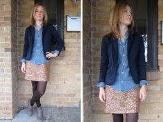 sequin skirt outfit, chambray, blazer, tights, ankle boots