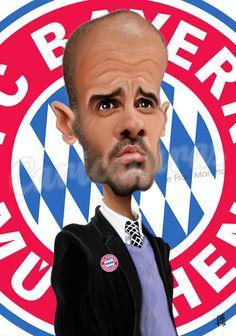 Caricatura de Pep Guardiola.