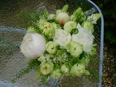 peony, rosa blanchette, scilla and thlaspi green bell