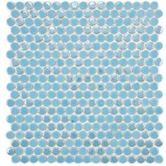 Watery blue penny tile makes a gorgeous kitchen backsplash or bathroom tile!