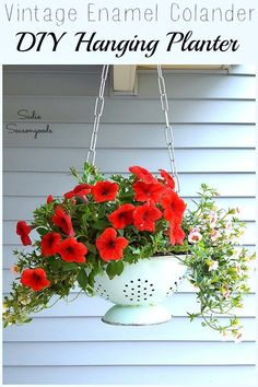 A vintage enamel colander is naturally heavy and has built-in drainage holes, which makes it the PERFECT piece to upcycle and repurpose into a DIY hanging basket planter for your front porch this summer. Plus, it adds wonderful cottage / farmhouse style to your porch decor...find out how Sadie Seasongoods put this one together at www.sadieseasongoods.com