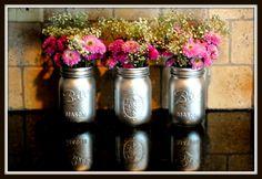 Metallic spray paint on Mason Jars for lovely vases!