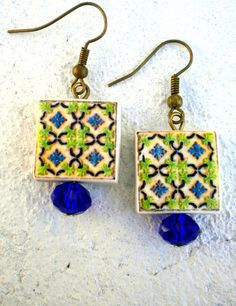 Portugal Antique Azulejo Tile Replica Earrings Green and by Atrio,