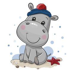 Cute Baby Cartoon, Cartoon Hippo, Cute Cartoon Animals, Cute Doodle Art, Cute Doodles, Cute Art, Cute Hippo, Baby Hippo, Cute Animals Images