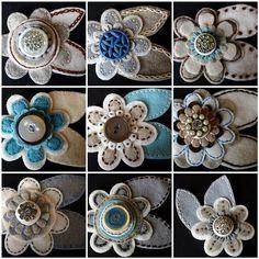 fleurs feutrine et bouton