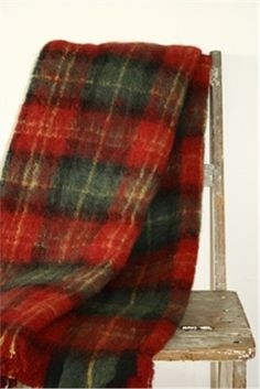 Mohair Mill Shop | Mohair Blankets | Cherry Plaid Mohair Blanket