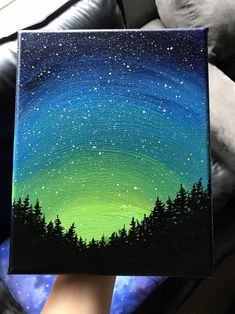Northern Lights Galaxy Painting, Galaxy Forest Art, inch Canvas, Galaxy Art, Northern Lights - Galaxy Painting - Step By Step Acrylic Painting Tutorial Easy Canvas Art, Simple Canvas Paintings, Small Canvas Art, Easy Canvas Painting, Mini Canvas Art, Easy Landscape Paintings, Easy Acrylic Paintings, Acrylic Painting For Kids, Easy Nature Paintings