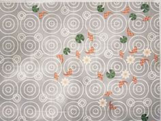 """""""Drops,"""" a concrete tile concept designed by Spanish collective Mut Design Studio + Atelier for Valencia-based manufacturer Entic Designs, 2012. Four different tile designs of a Japanese pond geometric motif with goldfish, lotus plans and water lilies that can be arranged and fit together in any direction or placement."""