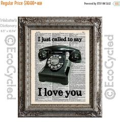 New to EcoCycled on Etsy: SALE Vintage Rotary Bakelite Telephone I Just Called To Say I Love You on Upcycled Dictionary Art Print Book Art Print Recycled Repurposed P (8.50 USD)