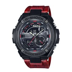Ultra-sleek & rugged new GST-210M-4AER from the one and only G-Shock. The Layer Guard Structure of these models provide both outstanding shock resistance and stylish design. The GST-210M models use new mixed color molding technology that allows the band to mix different colors in a marbled pattern.
