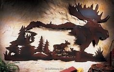 Northwoods Cabin Moose Metal Wall Art Pine Tree Woodland Lodge Decor -You can find Moose and more on our website. Metal Tree Wall Art, Metal Wall Decor, Metal Art, Wood Art, Wall Art Decor, Woodland Lodges, Collections Etc, Scroll Saw Patterns, Metal Walls