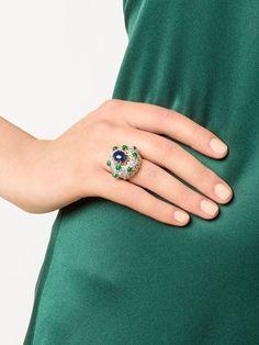 diamond, sapphire & emerald cocktail ring