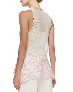 Tank with Floral Lace Straps