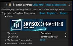 Creating 360° VR Video With C4D and After Effects | Mettle Take this comp and put it into a new comp. Throw the Skybox Converter effect on it, and convert from Cube Map to Equirectangular.