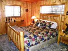 Lake Tahoe vacation rental. Flat lot, easy parking. #RnRvacationretnals #southlaketahoe Bedroom 1, Queen bed, pine furniture, nicely decorated.
