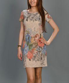 Loving this Beige Floral Textured Sheath Dress on #zulily! #zulilyfinds