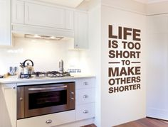 Wall tattoo English sayings ' ' Life's too short ' ' wall sticker vegan saying kitchen wall deco XL Wall Stickers Animals, Normal Wallpaper, Kitchen Quotes, Wall Tattoo, Blink Of An Eye, Nursery Wall Decals, Room Wall Decor, Life Is Short, Free Food