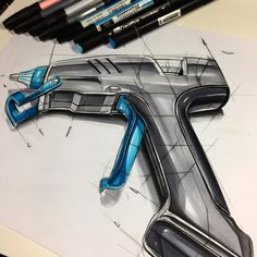 Product design sketch  Object ; silicone gun.  Continues and the actual presentation will be tomorrow..  #product #gun