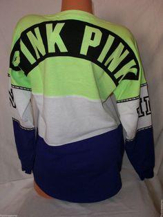 New XS Victoria's Secret PINK Varsity Crew Oversized Sweatshirt Multi Stripe #VictoriasSecretPINK #Sweatshirt
