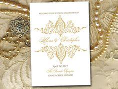 "Fold Over Wedding Program Template Download ""Helena"" Gold Program Order of Service Half Fold Program Printable by PaintTheDayDesigns on Etsy"
