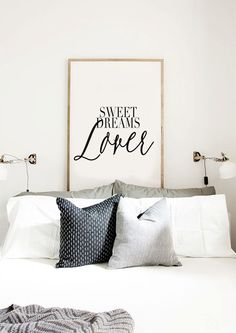 Sweet Dreams Lover - Romantic Quote Typography Print - Black and white Motivational Quote