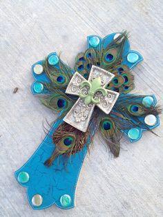 "Large 24"" Peacock Cross - MADE TO ORDER. $115.00, via Etsy. @ashleenjowers"