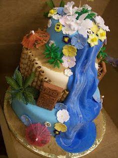 MoniCakes: Tiki Luau Cake with Waterfall and Sugar Flowers Fondant Cakes, Cupcake Cakes, Cupcakes, Hawaiin Cake, Waterfall Cake, Luau Cakes, Chocolate And Vanilla Cake, Hawaiian Party Decorations, Luau Party