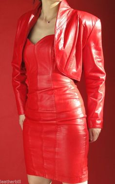 NORTH BEACH RED LEATHER SUIT -COCKTAIL DRESS and BOLERO JACKET