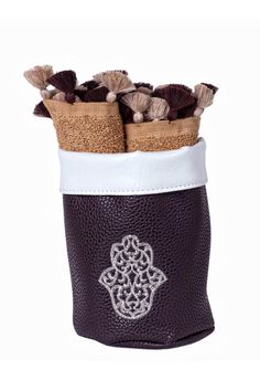 """Embroidered Hamsa towel basket, with brown cotton hands towels 2-pieces set. Perfect for gifts or for your house bathroom. Can also be used as a jewelry and make up basket. Approx Measure : 5.5""""x6""""x3.5""""   Hamsa Towel Basket  by Le Beau Maroc . Home & Gifts - Home Decor - Decorative Objects Florida"""