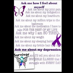 Thyroid disease.  Spoonie Hypothyroidism Hyperthyroidism  Invisible illness Chronic illness  Depression Ask me how I feel about myself  Thyroid disease awareness I wear purple for myself.