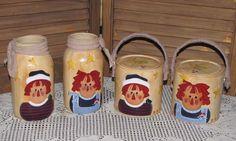 primitive Raggedy Ann & Andy mason jars paint cans farmhouse country home decor #PrimitiveCountry #handpaintedbyseller