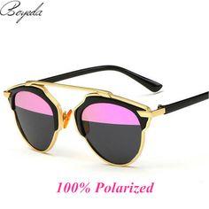 2017 de Metal Plana Superior Femenina Rihanna Mujeres de Lujo gafas de Sol Polarizadas Las Mujeres Diseñador de la Marca Retro de Metal Espejo Gafas de Sol Estilo