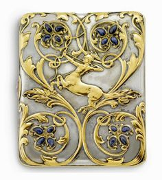 """Gold, silver, sapphire cigarette case inscribed """"Paulding Farnham New York from S.J.F., Nov. 6, 1901. Interior marked Tiffany & Co. Image Sotheby''s"""
