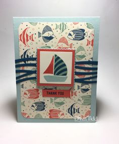 """Paper Players .346.  Dawn Tidd """"Sailing in with a Note of Thanks"""".  Stampin Up By the Seashore DSP."""