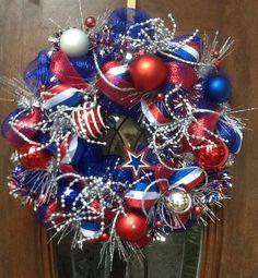 Deco Mesh wreath - of July, labor day, memorial day Patriotic Crafts, Patriotic Wreath, July Crafts, 4th Of July Wreath, Flag Wreath, Wreath Crafts, Diy Wreath, Wreath Ideas, Ornament Wreath