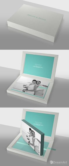 DreamArt Photography share this example of a @graphistudio Young Book. Special Thanks to Megan & Ryane! #DreamArtPhotography #DreamArtWedding #WeddingBook #GraphiStudio #YoungBook - Book Size 30x 20 cm Metalic Paper with Glossy Lamination. 30 Thick pages. Ribbon Tiffany. Box leatherette Linnen White.