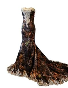 Mollybridal Lace Applique Sweetheart Long Mermaid Camo Wedding Dresses 14 >>> You can get more details by clicking on the image.
