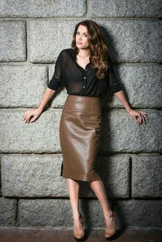 Brown leather midi skirt with sheer black top