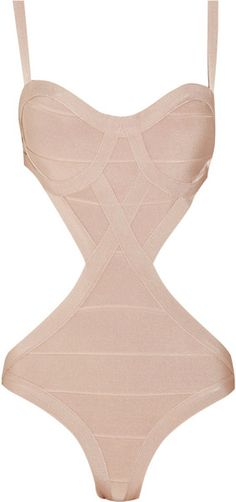 Hervé Léger Cutout Bandage Swimsuit in Beige. Perfect for when you really want to flaunt your muffin tops.