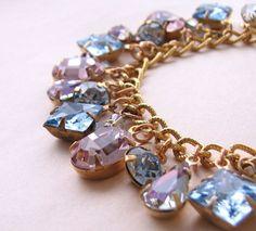 Winter's Eve charm bracelet vintage vitrail light by shadowjewels