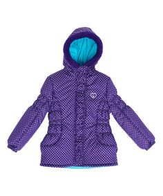 Look what I found on #zulily! Purple Polka Dot Puffer Coat - Infant, Toddler & Girls #zulilyfinds
