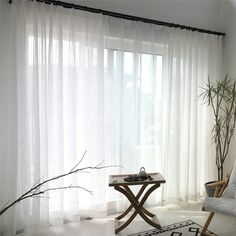 White Sheer Curtain Solid Color All-match Voile Curtain Panel Living Room Bedroo… - Curtains Gray Sheer Curtains, Voile Curtains, Curtains Living, Panel Curtains, Curtains For Bedroom, Lounge Curtains, Sheer Curtain Panels, Curtains With Blinds, Living Room Bedroom