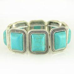 Vintage Turquoise Flexible Bracelet GBR10116