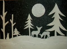 Here you find the best free Winter Silhouette Art Project collection. You can use these free Winter Silhouette Art Project for your websites, documents or presentations. Christmas Art For Kids, Christmas Art Projects, Winter Art Projects, Winter Christmas, Christmas Crafts, Christmas Ideas, Landscape Art, Landscape Paintings, Snowman