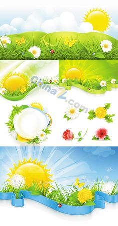 Spring sunny vector material download