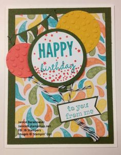 Birthday - from me to you. Lots going on here for this birthday card, but easy to do with the Celebrate Today stamp set and matching dies.  - #JBStampers
